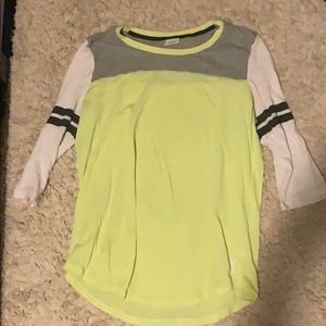 PINK 3/4 sleeve yellow shirt